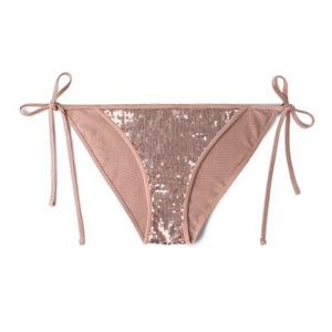 Joan Smalls Rose Gold Sequin String Bikini Bottoms